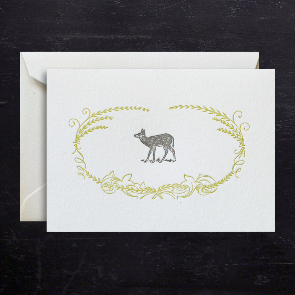 NOTE CARD - ANC - FAWN LETTERPRESSED