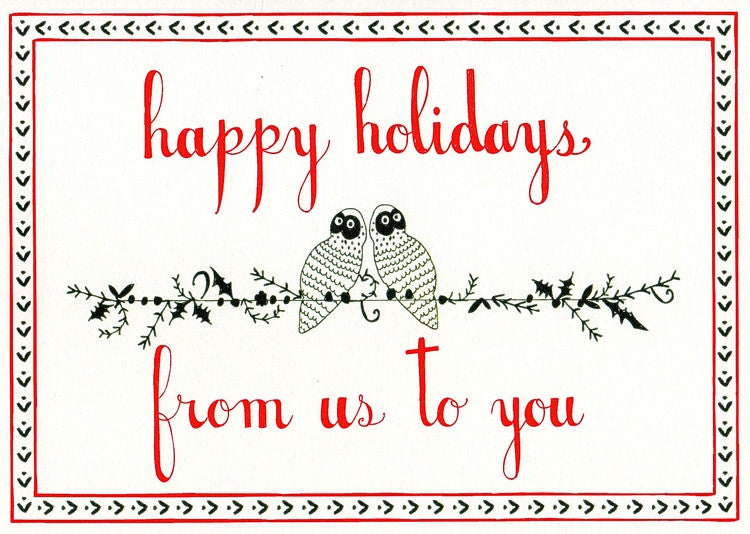 CHRISTMAS CARD - MRB -  HOLIDAY OWLS