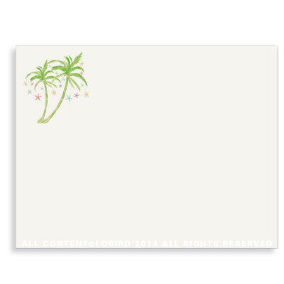 CHRISTMAS NOTE CARDS - LB - PALM TREE WITH LIGHTS WITH CHARM