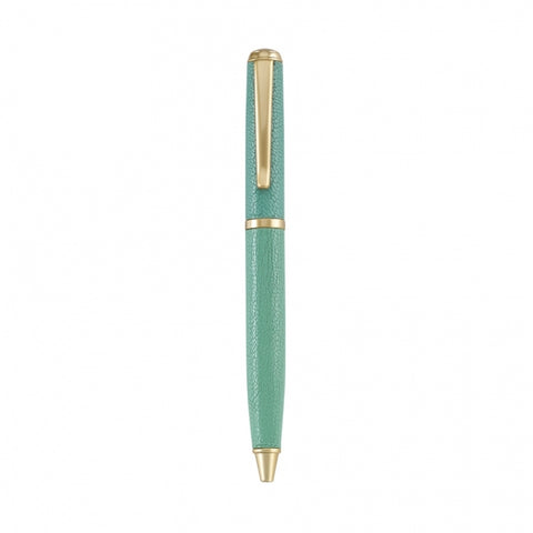 LEATHER BALL PEN - GI - FULL WRAP ROBIN'S EGG BLUE GOATSKIN