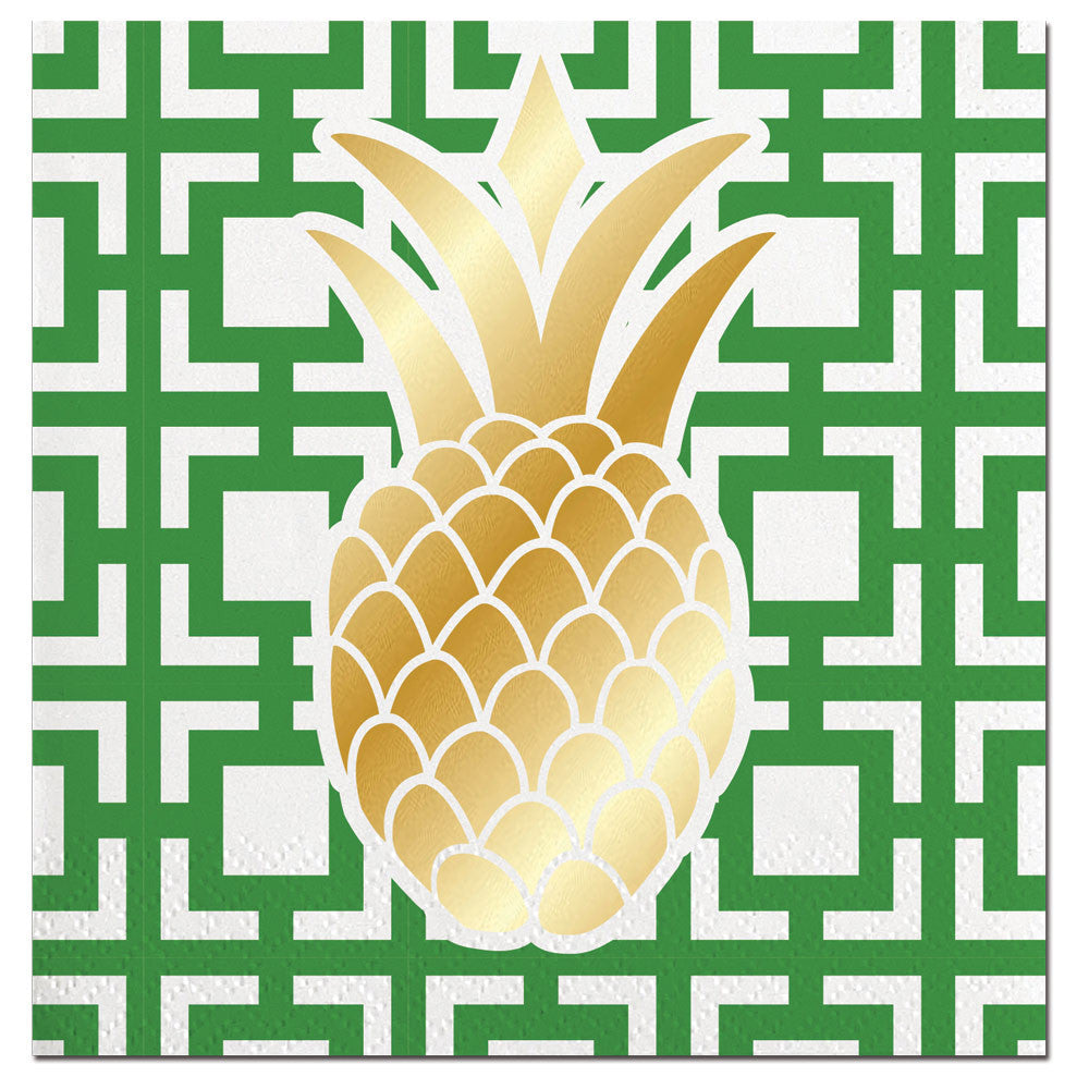 NAPKINS - SL - GOLD FOIL PINEAPPLE
