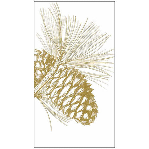 GUEST TOWEL - PPD - CHRISTMAS GOLD PINECONE