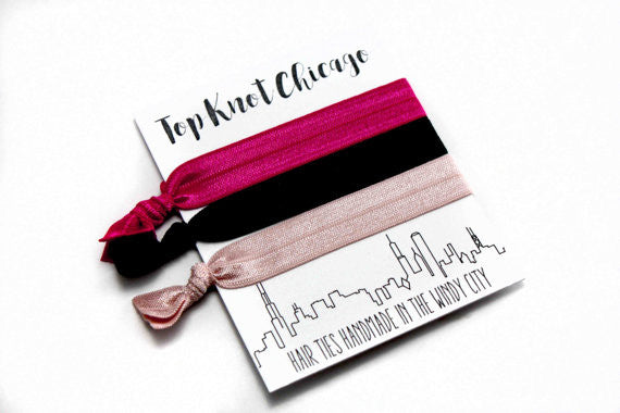 PINK AND BLACK HAIR TIES