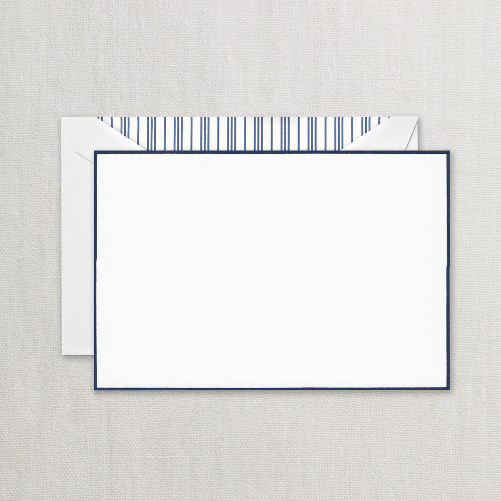 NAVY BORDERED CORRESPONDENCE CARD WITH PIN STRIPE LINING
