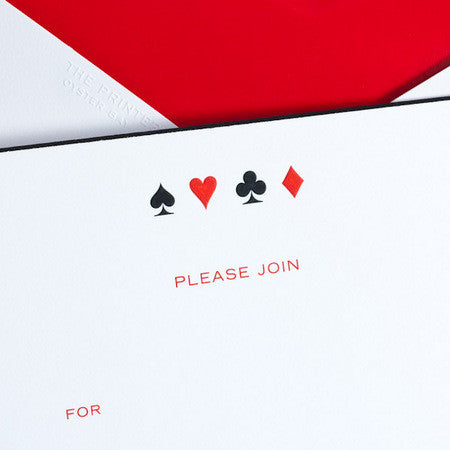 FILL-IN INVITATIONS - TP - PLAYING CARDS SUITS - ENGRAVED FILL-IN INVITATIONS SET OF 10