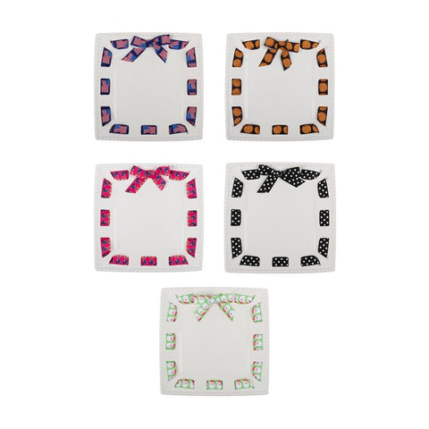 CAKE PLATTER -MSC- SQUARE- MULTI HOLIDAY RIBBONS