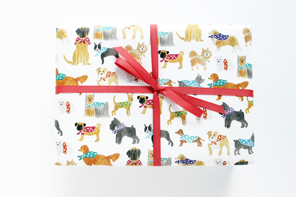 WRAP PAPER - LAP - POLKA DOT DOGS
