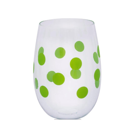 PLASTIC WINE CUPS - MSC - SET OF 2 GREEN POLKA DOT