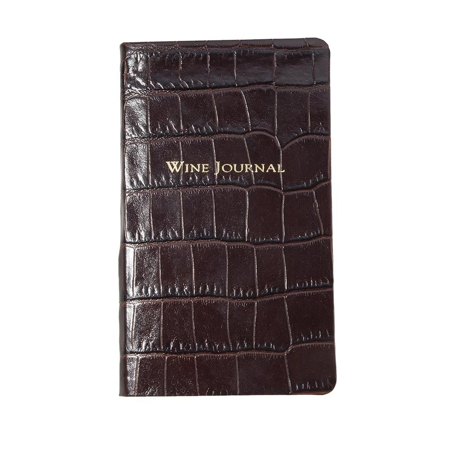 SMALL LEATHER BOOK - GI - WINE JOURNAL - CROCODILE BROWN
