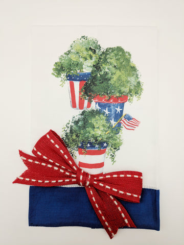 TEA TOWEL - DBB - PATRIOTIC PLANTS - BLUE BAND WITH BOW