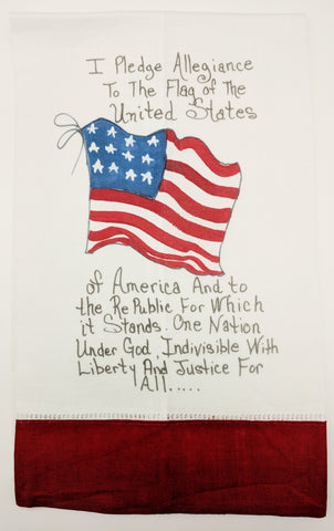 TEA TOWEL - DBB - PLEDGE OF ALLEGIANCE - RED BAND