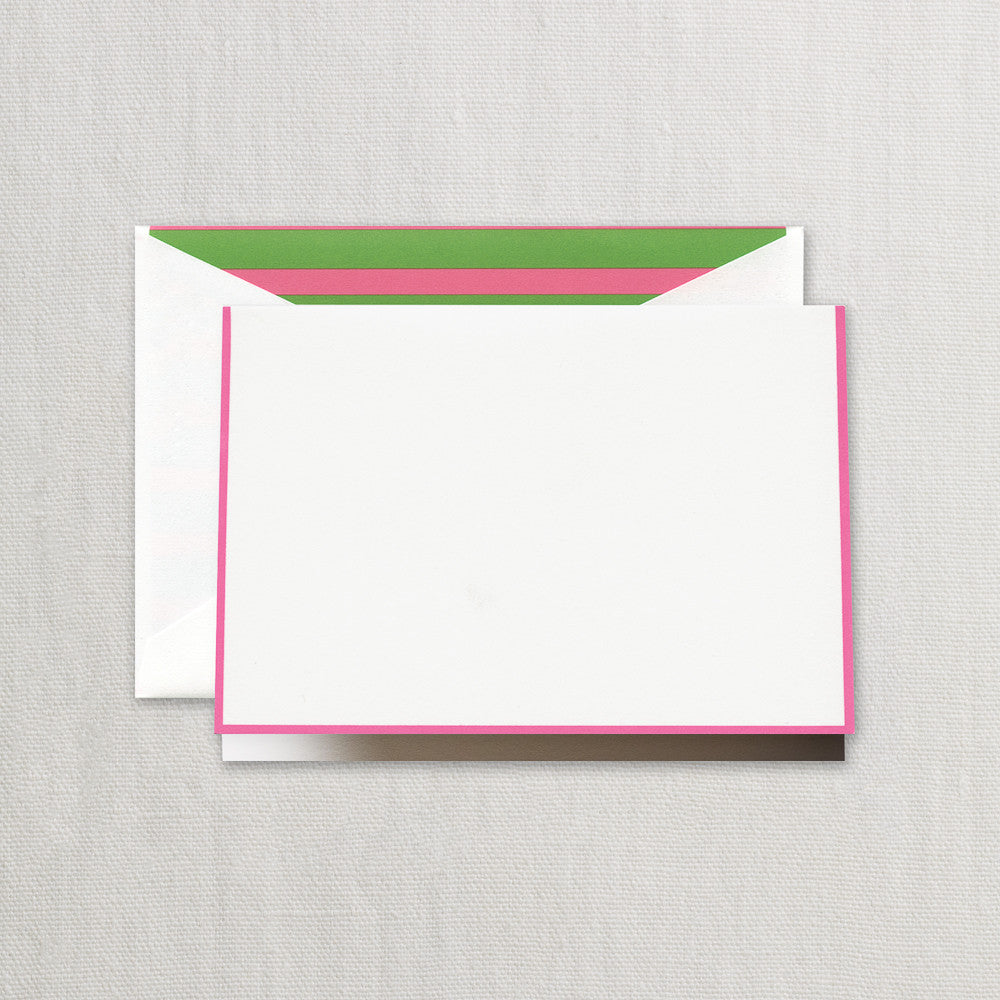BOXED NOTE CARDS - CCO - PINK AND GREEN STRIPE LINED NOTES