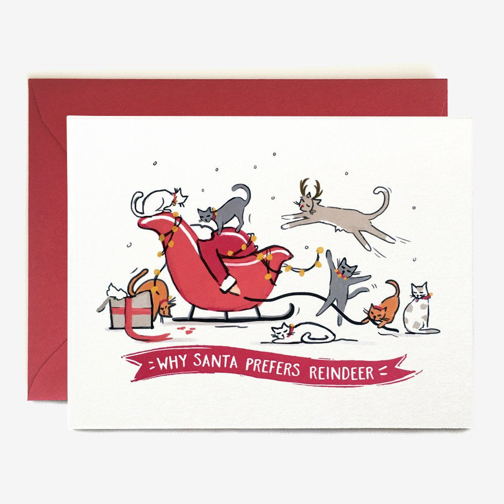 CHRISTMAS CARD - PPC - WHY SANTA PREFERS REINDEER (with bronze envelope)