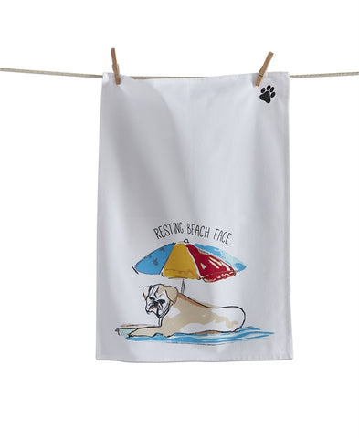 DISH TOWEL - TAG- RESTING BEACH FACE DOG
