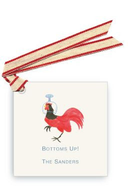GIFT TAG SET - LB - BOTTOMS UP ROOSTER