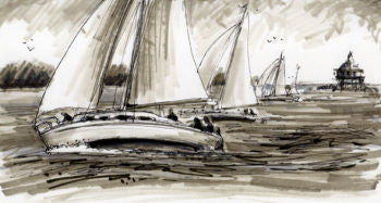 GREYSCALE SAILBOATS - GREETING CARD