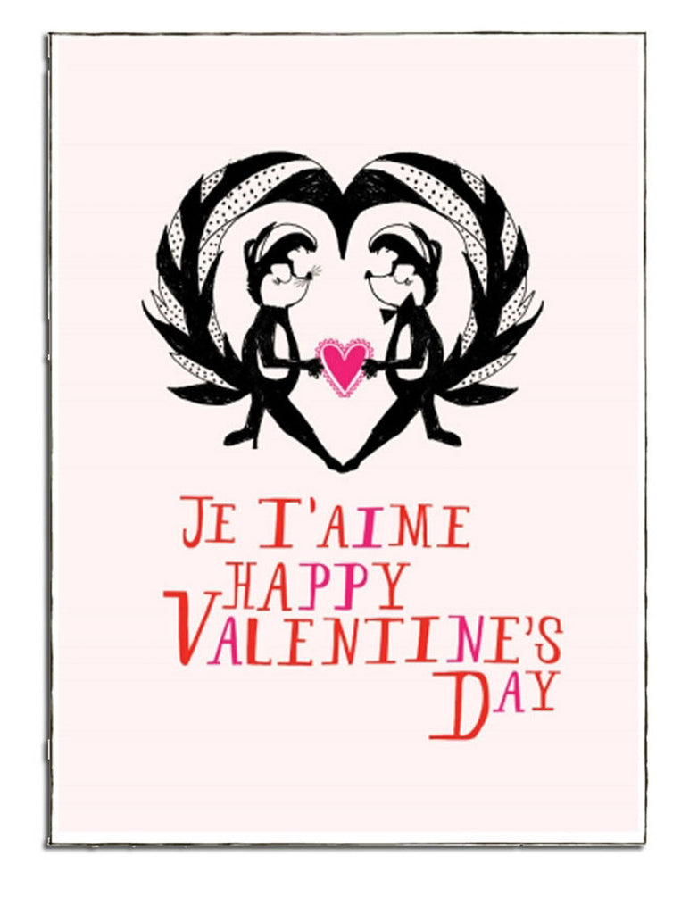 JE T'AIME SKUNKS - GREETING CARD