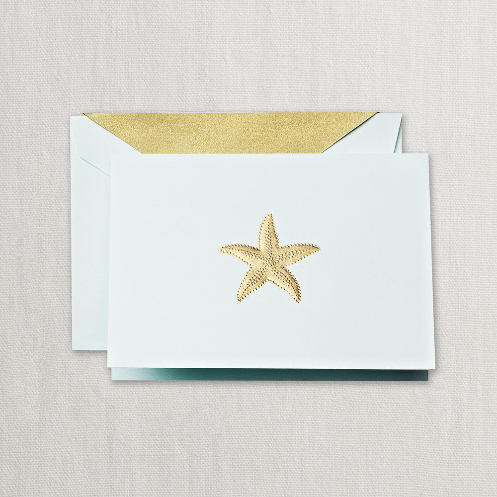 BOXED NOTECARDS - CC - ENGRAVED STARFISH IN GOLD ON POWDER BLUE