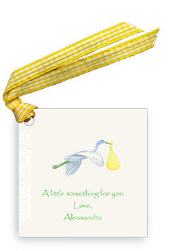 GIFT TAG - LB - YELLOW STORK