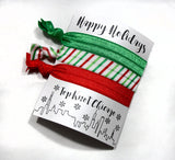 CHRISTMAS HAIR TIES - TKC - RED AND GREEN 3 ON A CARD