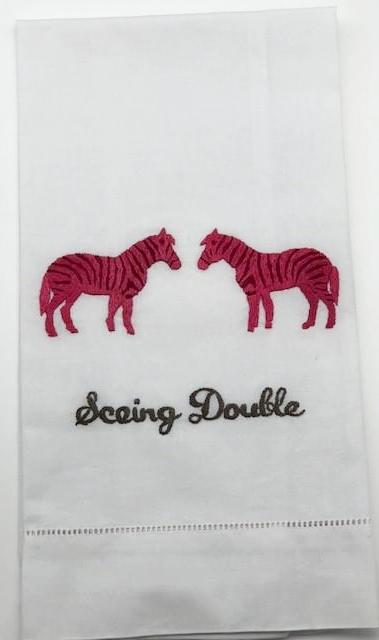 BAR TOWEL - AM- SEEING DOUBLE (2 ZEBRAS)