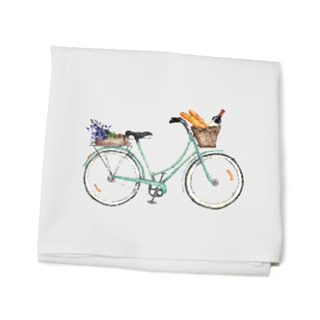 KITCHEN TOWEL - TLD - SEAFOAM BIKE WINE AND BREAD