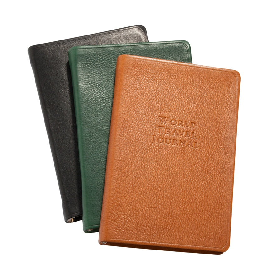 LEATHER TRAVEL JOURNAL - GI - BLACK