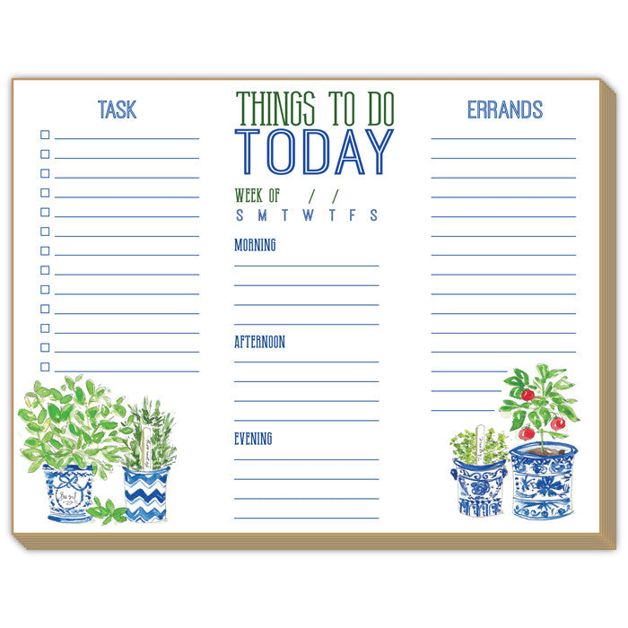 "NOTE PAD - RAB - LARGE ""THINGS TO DO TODAY "" TOPIARY"