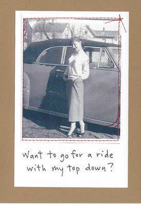 WANT TO GO FOR A RIDE? - GREETING CARD