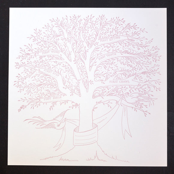 BIRTH TREE OF FIRSTS - ANC- LETTERPRESS IN BLUSH, AQUA OR GREY