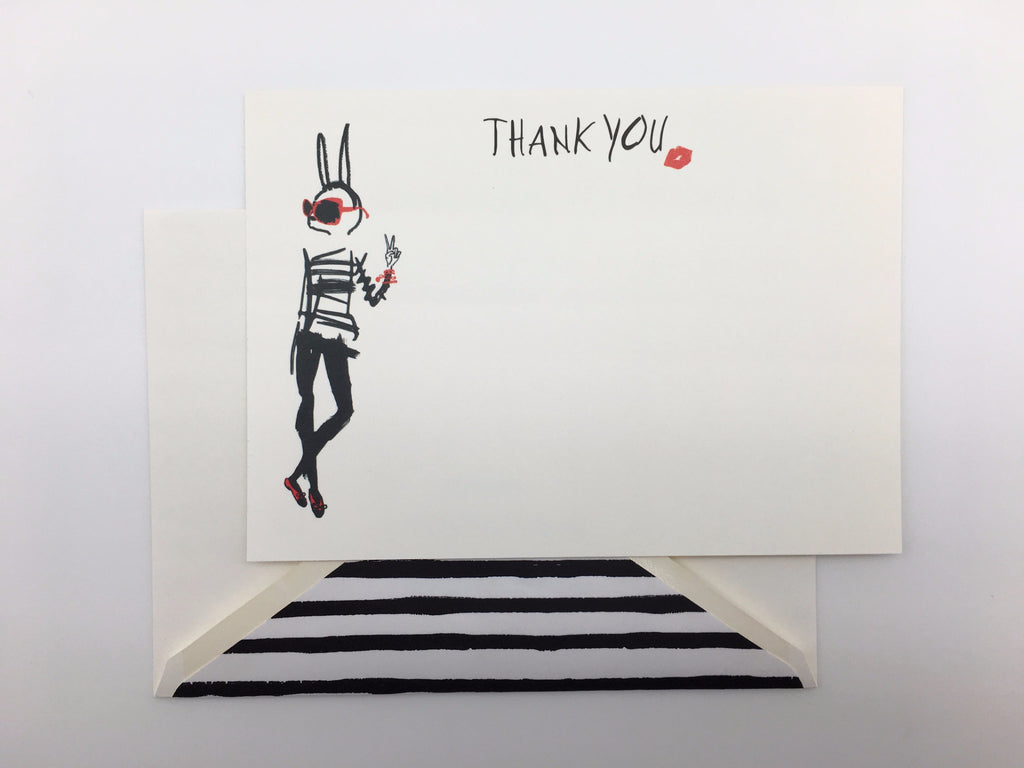 GREETING CARD - PT- EDGY BUNNY - THANK YOU NOTE