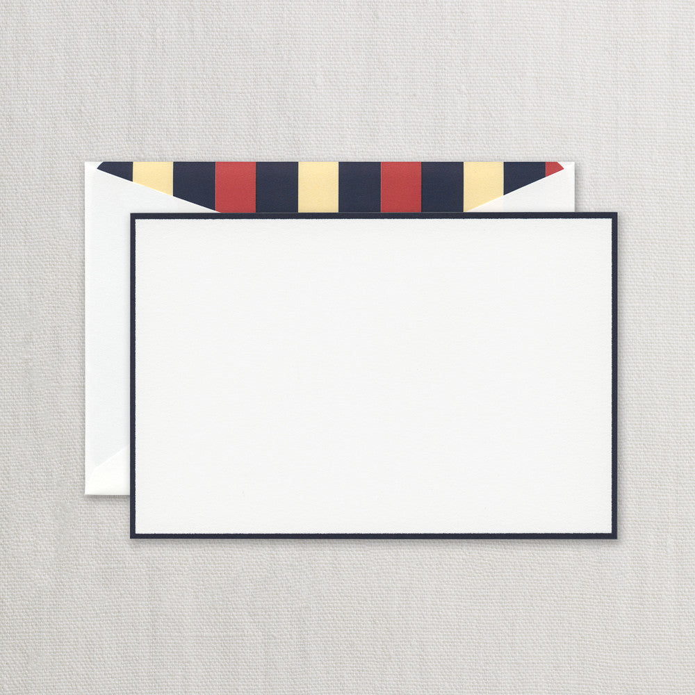 BOXED NOTE CARDS - CCO - NAVY BORDERED CARD WITH  STRIPED LINER