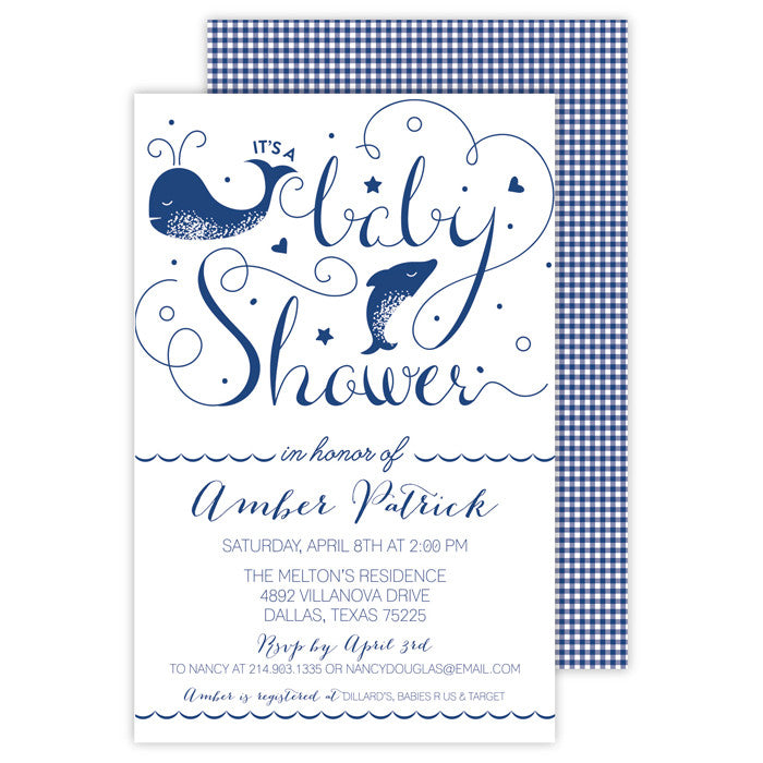 BOXED IMPRINTABLE INVITATIONS - RAB - DOLPHIN BABY SHOWER