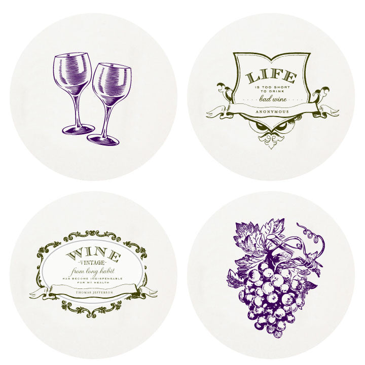 COASTERS - HP - WINE LARGE BOX OF 100 LETTERPRESSED