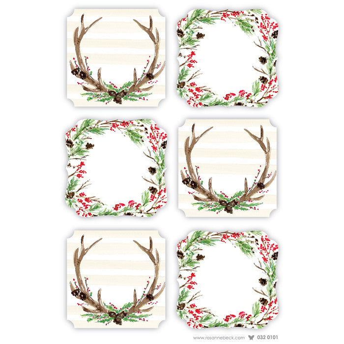 GIFT STICKERS - RAB - RUSTIC WREATHS