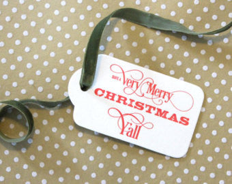 CHRISTMAS GIFT TAGS - CBD - MERRY CHRISTMAS Y'ALL SET OF 3