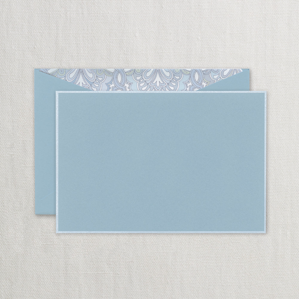BOXED NOTE CARDS - CCO - WHITE BORDERED DALTON BLUE CORRESPONDENCE CARD