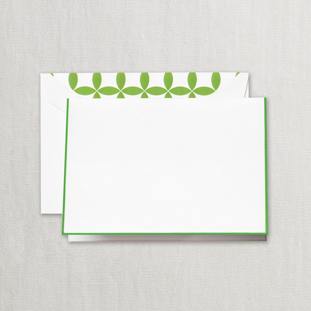 BOXED NOTE CARDS -CCO- PEARL WHITE FOLD OVER WITH SPRING GREEN BORDER