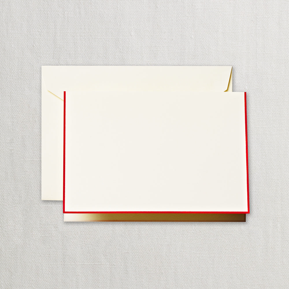 BOXED NOTE CARDS -CCO- ECRUWHITE FOLD OVER WITH RED BORDER