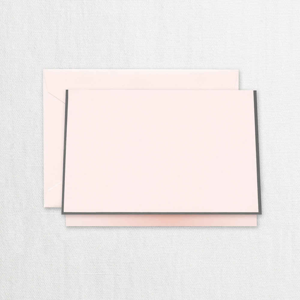 BOXED NOTE CARDS - CCO - PINK WITH GREY BORDER FOLDOVER
