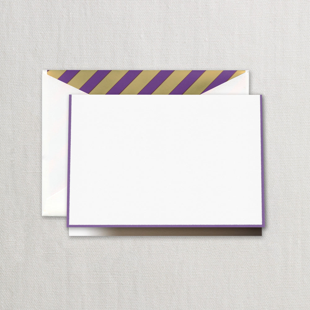 BOXED NOTE CARDS -CCO- PEARL WHITE FOLD OVER WITH PURPLE BORDER