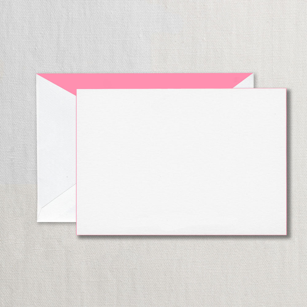 BOXED NOTE CARDS - CCO - BUBBLE GUM  PINK EDGE HEAVY CARD STOCK WITH PINK LINER SET OF 6