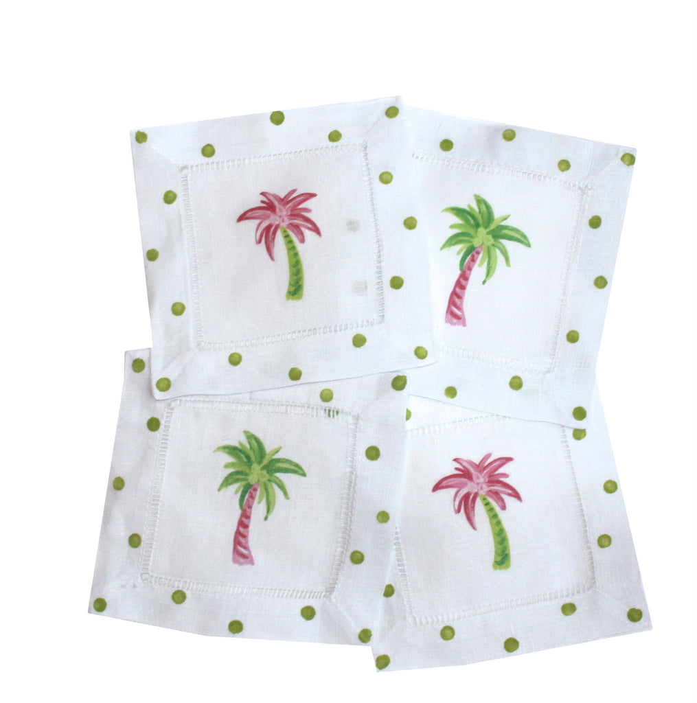 PALM TREE - LINEN COCKTAIL NAPKINS