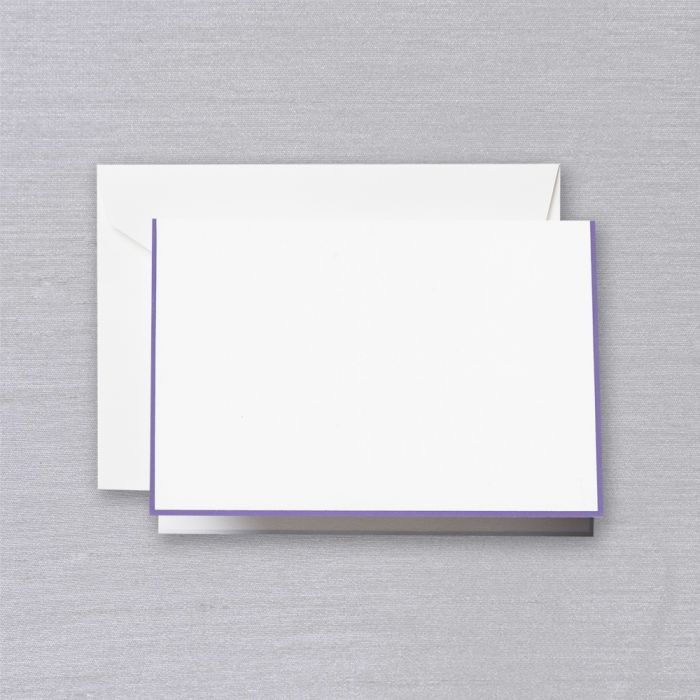 BOXED NOTE CARDS - CCO - PEARL WHITE FOLD OVER WITH AMETHYST BORDER