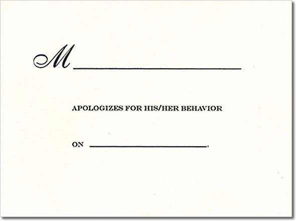 NOTE CARD -VT- APOLOGY