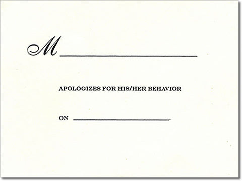APOLOGY - NOTE CARDS