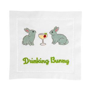 LINEN COCKTAIL NAPKINS LINEN - AM - DRINKING BUNNY