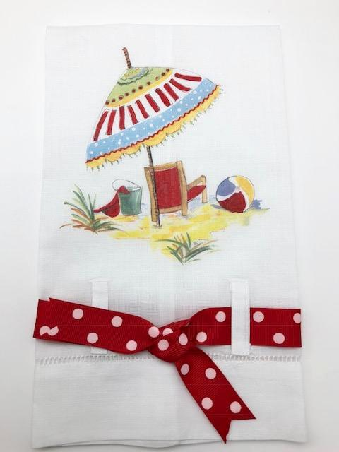 TEA TOWEL - DBB - BEACH DAY WITH POLKA DOT BOW