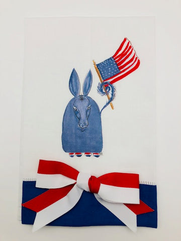 TEA TOWEL - DBB - PATRIOTIC DONKEY - BLUE BAND WITH BOW