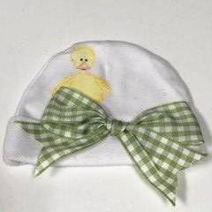 NEWBORN HAT - DUCK WITH PLAID RIBBON BOW